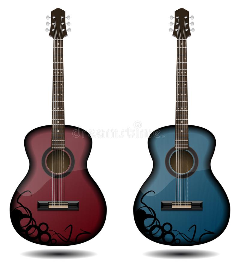 Guitar set isolated on white background. Classic guitar for Your. Business project. Black and red and blue wooden guitars. Vector Illustration royalty free illustration