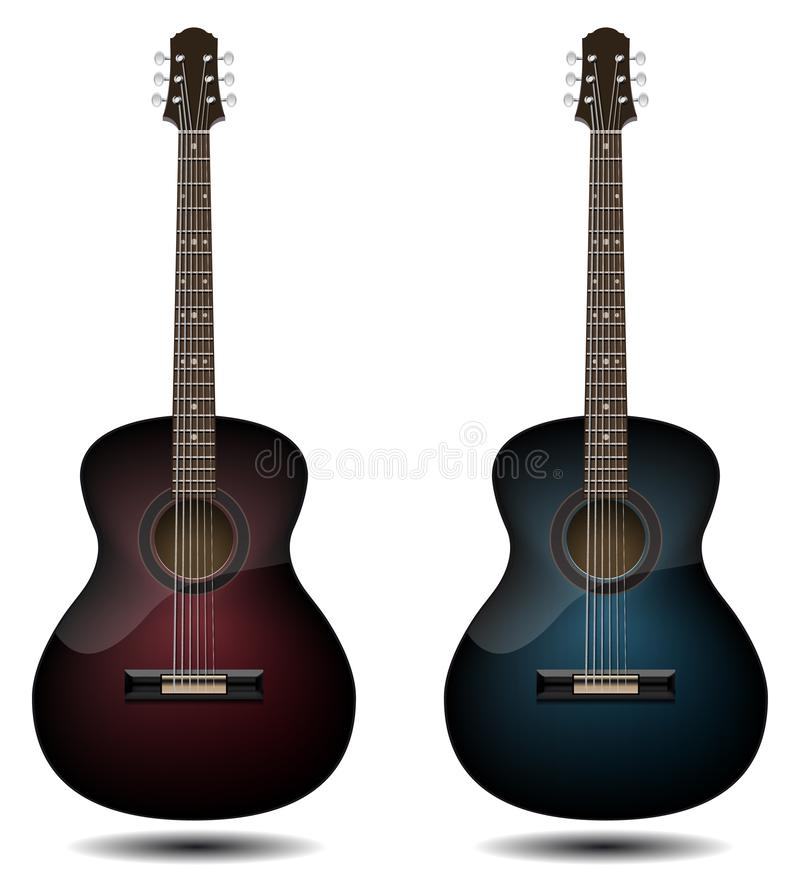 Guitar set isolated on white background. Classic guitar for Your. Business project. Black and red and blue wooden guitars. Vector Illustration vector illustration