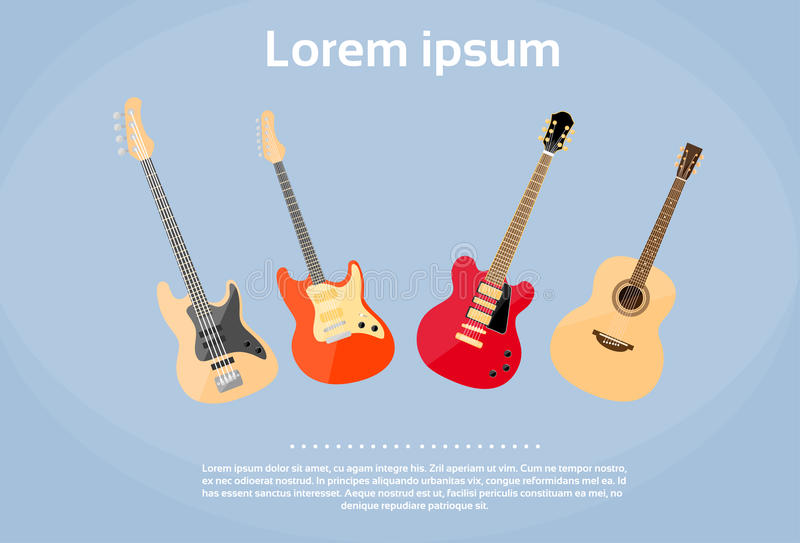 Guitar Set Musical Instruments Rock Band royalty free illustration