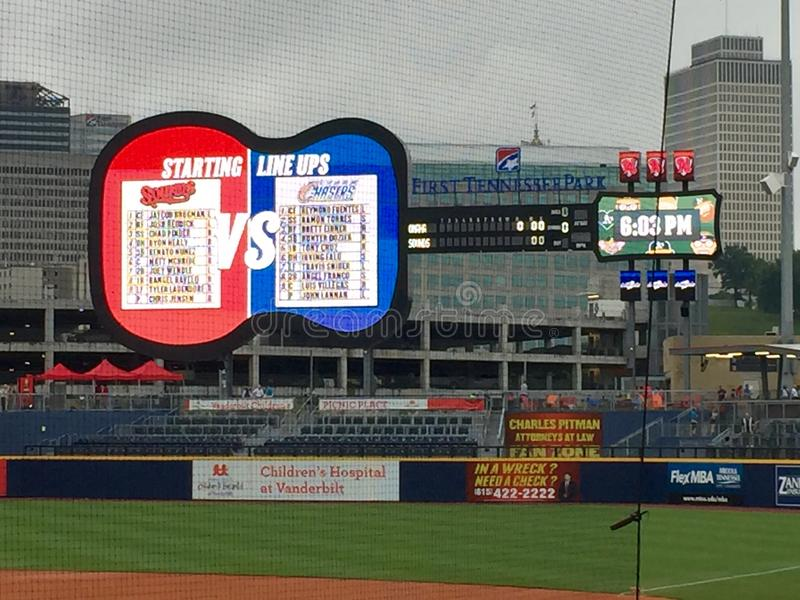 The guitar shaped scoreboard at the Nashville sounds baseball stadium stock image