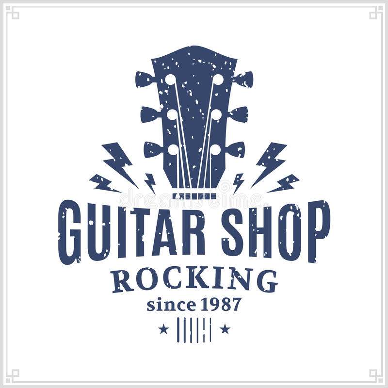 Guitar Shop Logo. Retro styled guitar shop logo template. Music icon for audio store, branding and identity