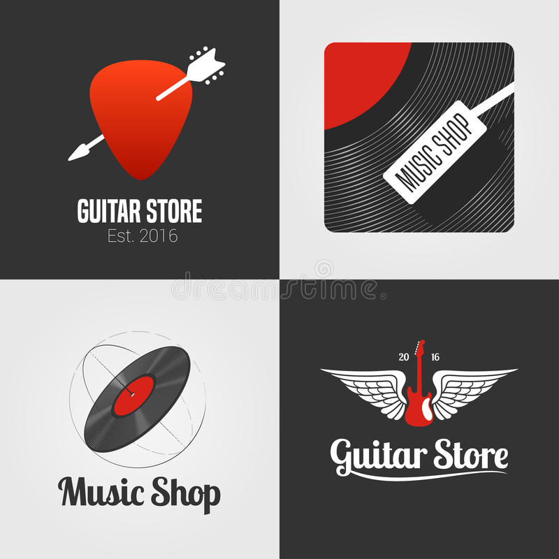 Guitar shop, music store set, collection of vector icon, symbol, emblem, logo, sign. Template graphic design elements with guitar, wings, vinyl disc for music royalty free illustration
