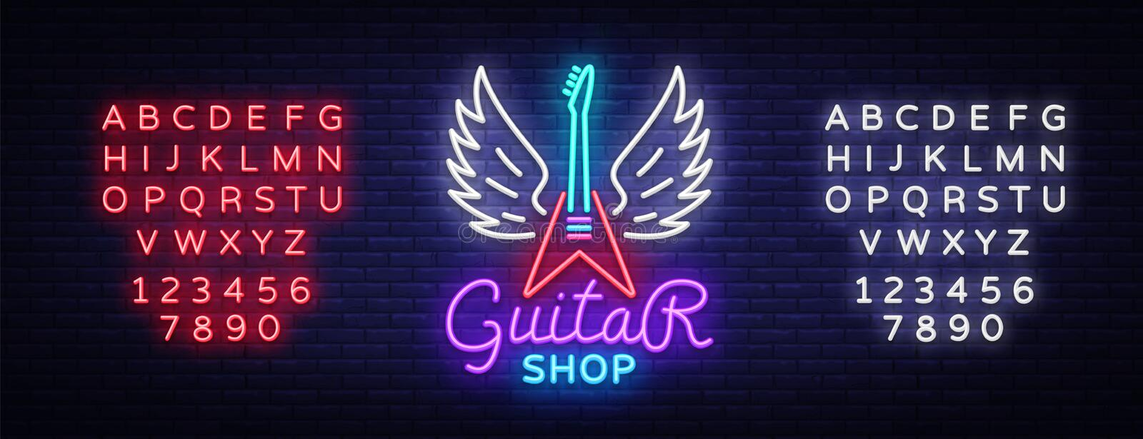 Guitar shop neon sign vector. Design template Guitar Store logo in neon style, light banner, bright neon night signboard. Emblem for store with musical vector illustration