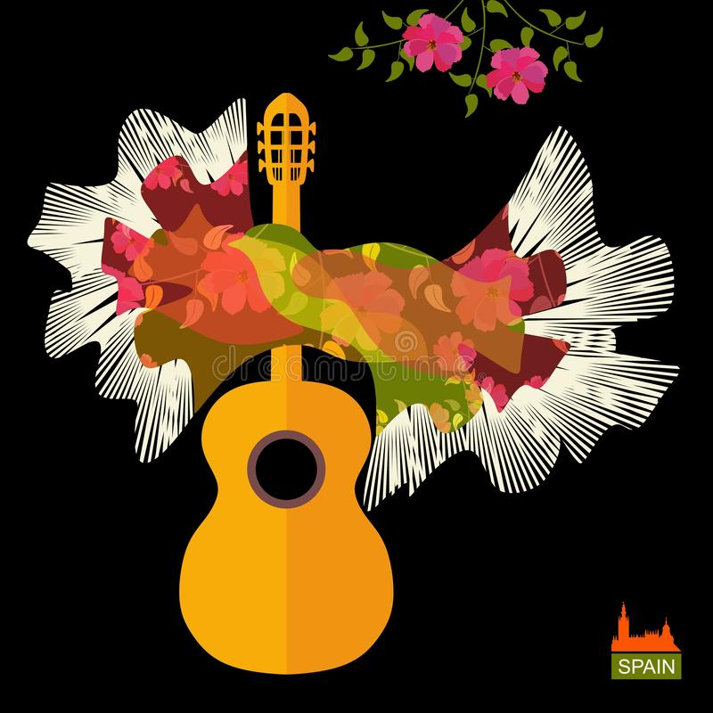 Guitar silhouette and Spanish shawl in the form of flying bird as flamenco symbols isolated on black background in vector vector illustration
