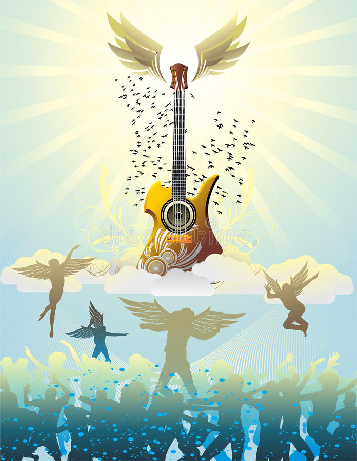 Download Guitar in the sky stock vector. Image of night, party - 12847544