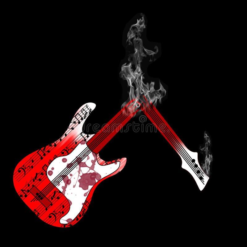 Guitar and smoke. Vector guitar and smoke on black background stock illustration