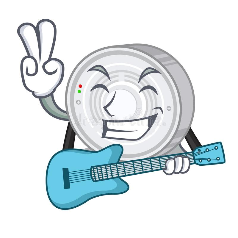 With guitar smoke detector in the cartoon shape stock illustration