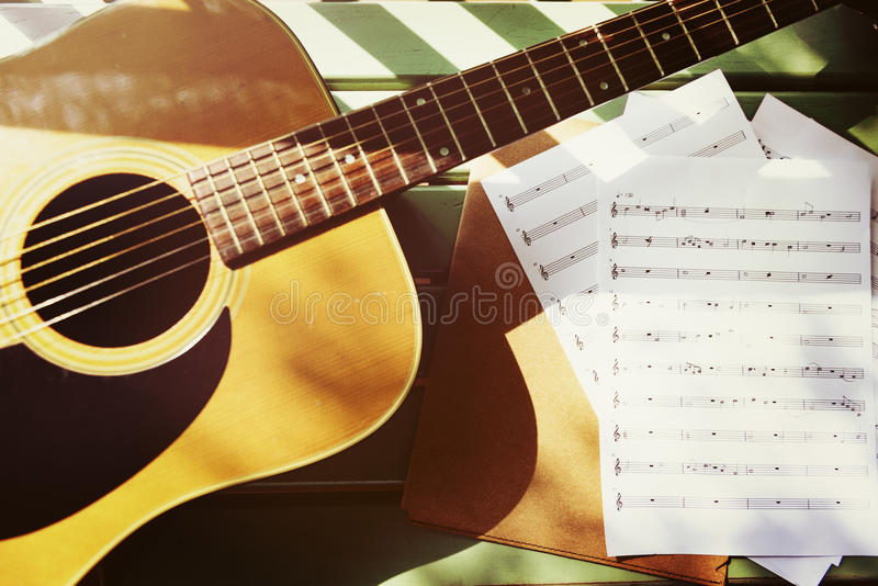 Guitar Song Writer Melody Enjoyment Music Note Concept. Guitar Song Writer Melody Enjoyment Music Note stock photography