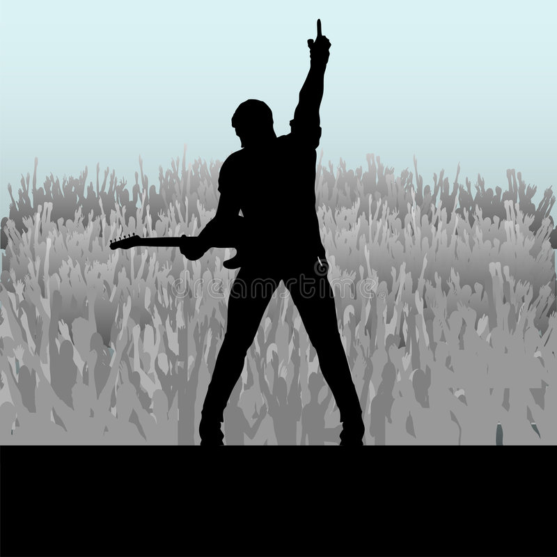 Guitar Stage Message. Illustration of a rock guitar player saluting a large cheering crowd vector illustration