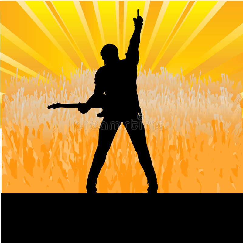 Guitar Stage Message. Illustration of a rock guitar player saluting a large cheering crowd from vector illustration