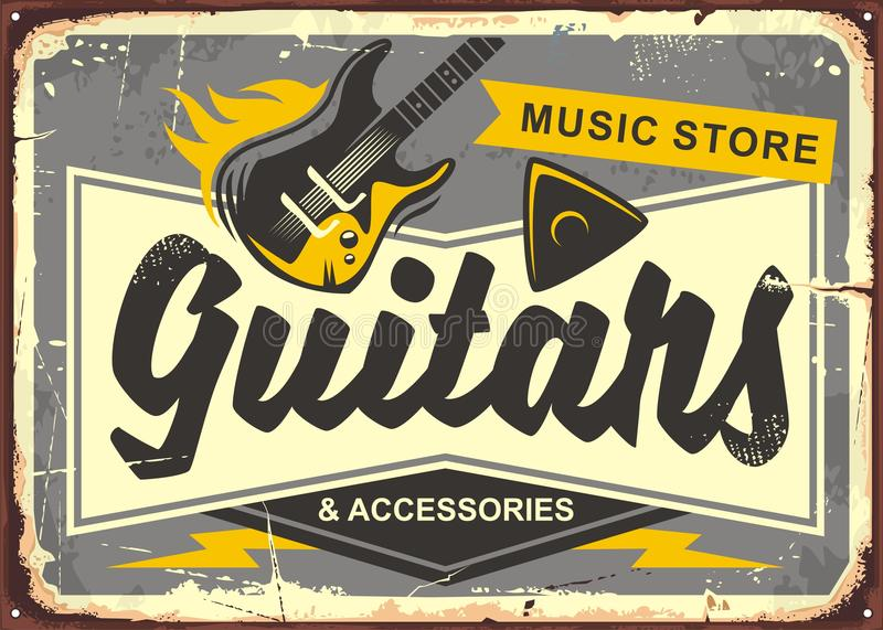 Guitar store retro advertisement. Sign board with electric guitar, guitar pick and creative typo. Vintage music illustration. Vector image royalty free illustration