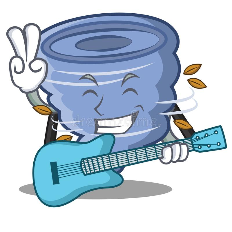 With guitar tornado character cartoon style stock illustration