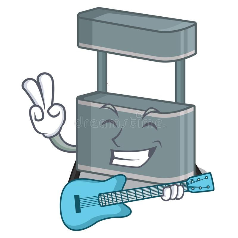 With guitar trade stand on the cartoon roadside. Vector illustration royalty free illustration