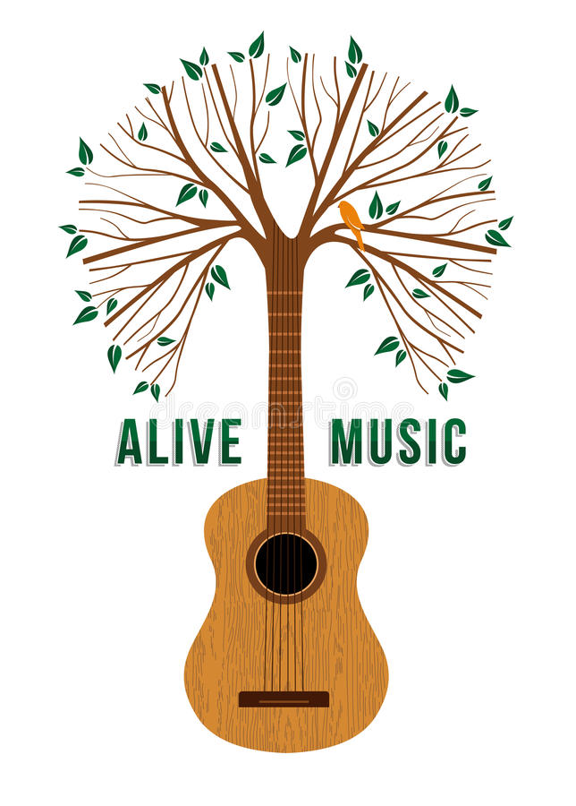Guitar tree live music quote concept illustration. Guitar tree with bird and nature decoration. Concept illustration for environment care or live music poster stock illustration