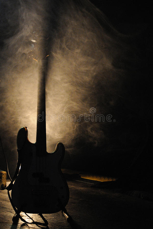 Guitar from WhoMadeWho band, who performs at Music Hall stock image