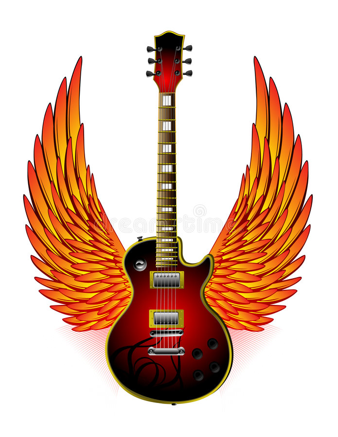 Free Guitar Wings Fire Stock Image - 9091251