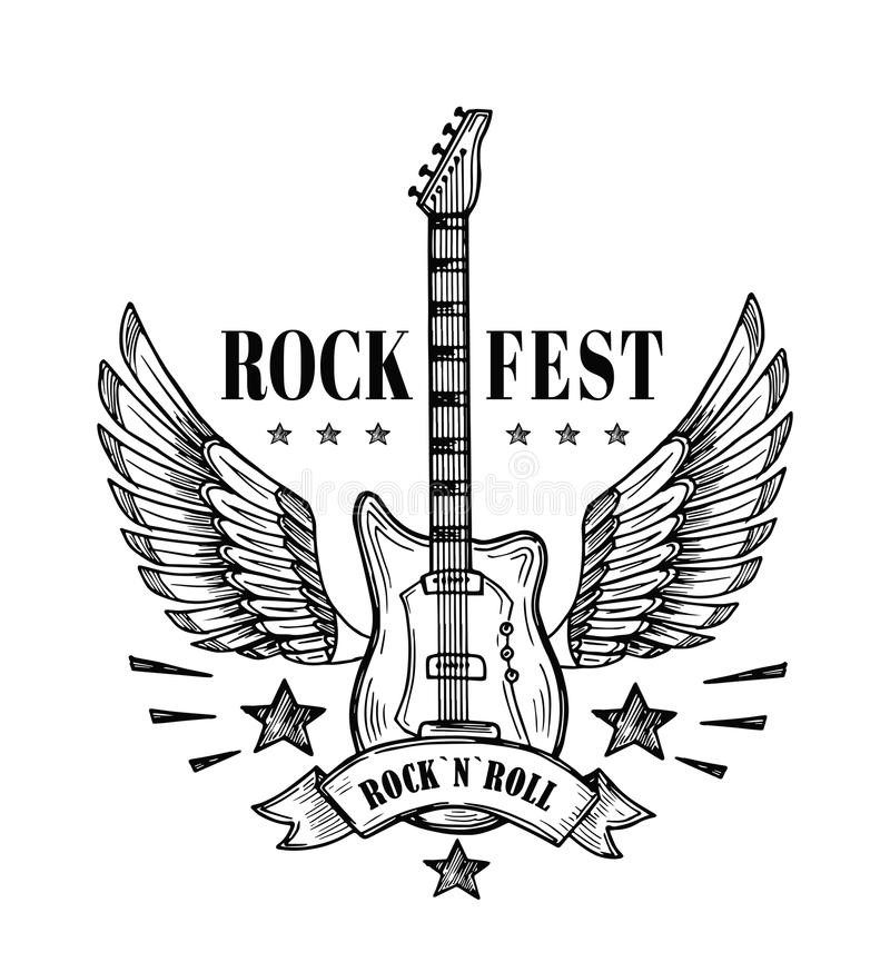 Guitar with wings. Music festival vintage poster. Rock and roll tattoo vector art. Rock guitar, festival music emblem with wings illustration stock illustration