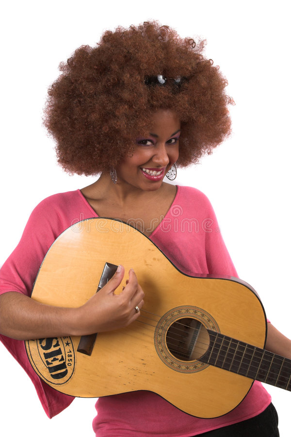 Guitar woman. Beautiful afro woman with old guitar (text on guitar is 'used' not a brandname