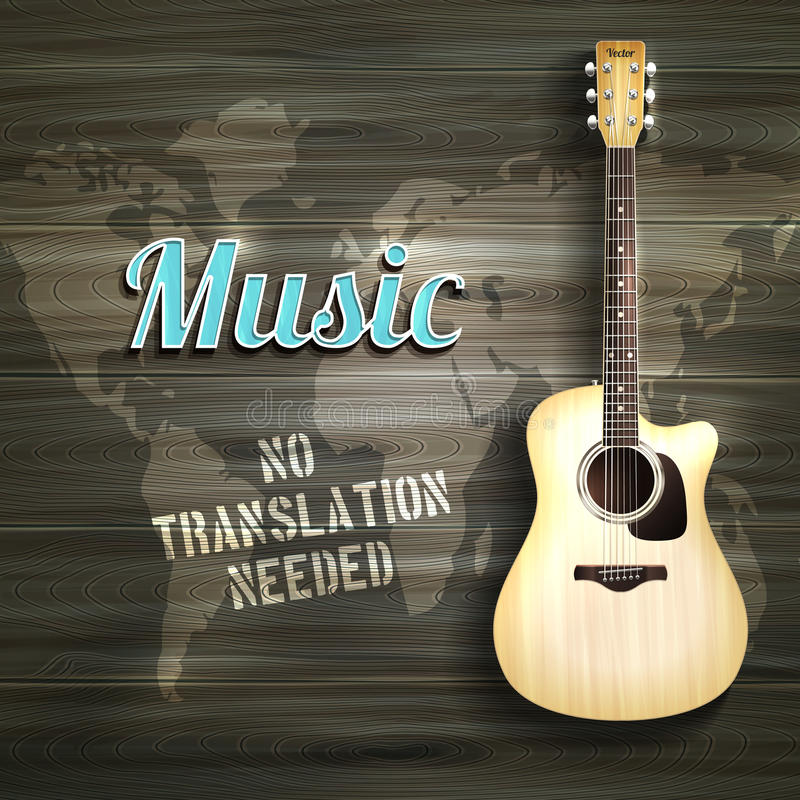 Guitar Wooden Backround vector illustration