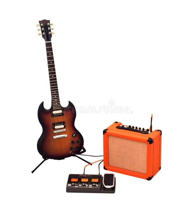 Guitare électrique, amplificateur combo et processeur photos libres de droits