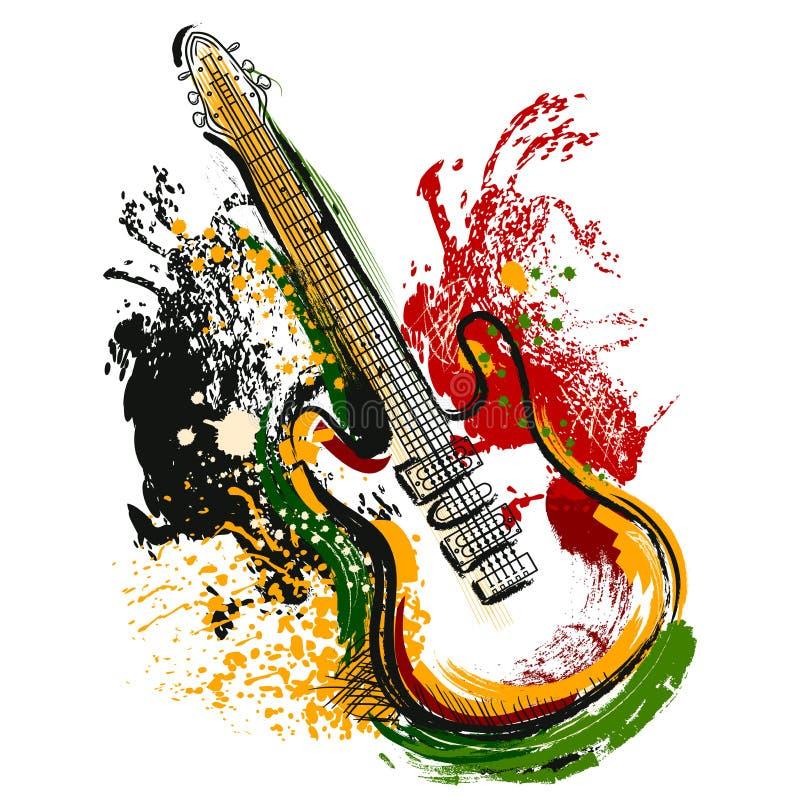 Guitare électrique Art grunge tiré par la main de style Rétro bannière, carte, T-shirt, sac, copie, affiche illustration de vecteur