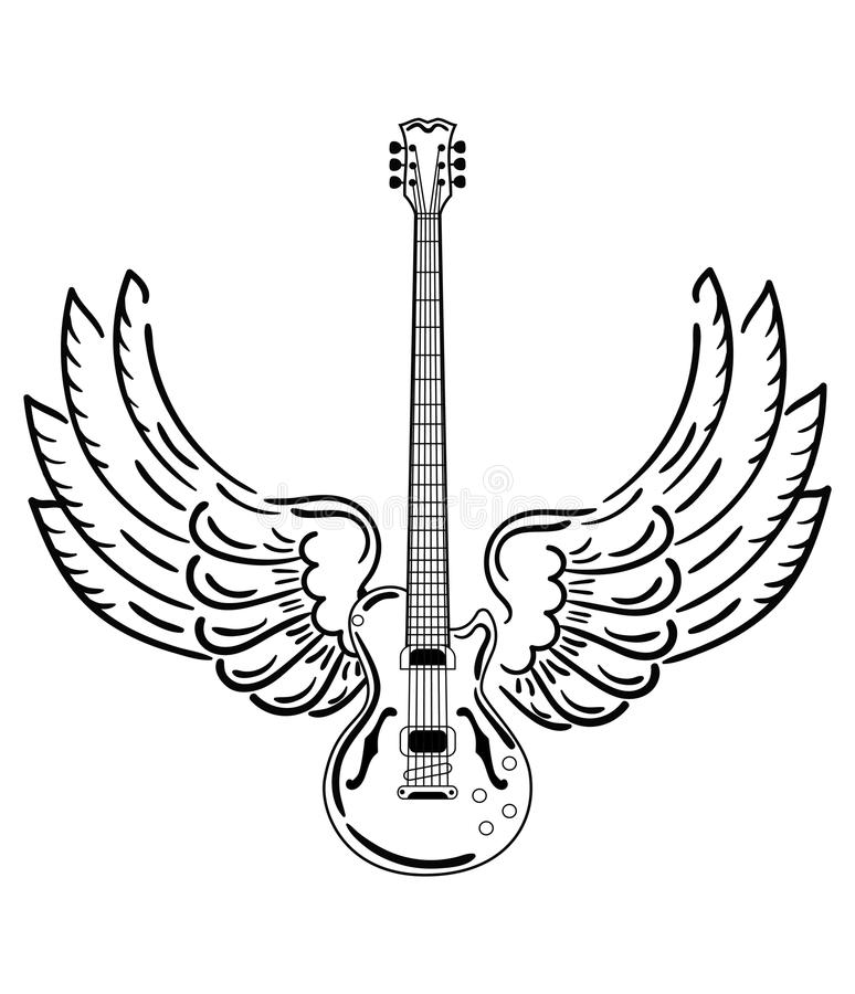 Guitare électrique avec des ailes Guitare électrique stylisée avec des ailes d'ange Illustration noire et blanche d'un musical illustration libre de droits