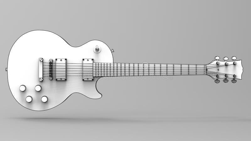 Guitare électrique blanche avec les lignes noires sur le fond gris rendu 3d illustration de vecteur