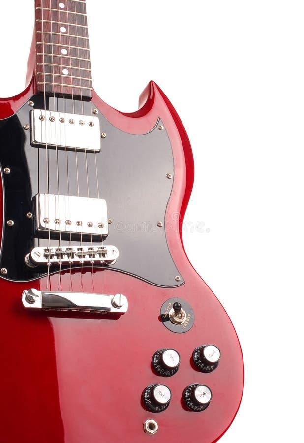 Guitare électrique d'isolement sur le fond blanc images libres de droits