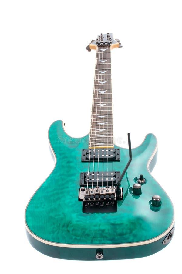 Guitare électrique d'isolement sur le fond blanc photos stock