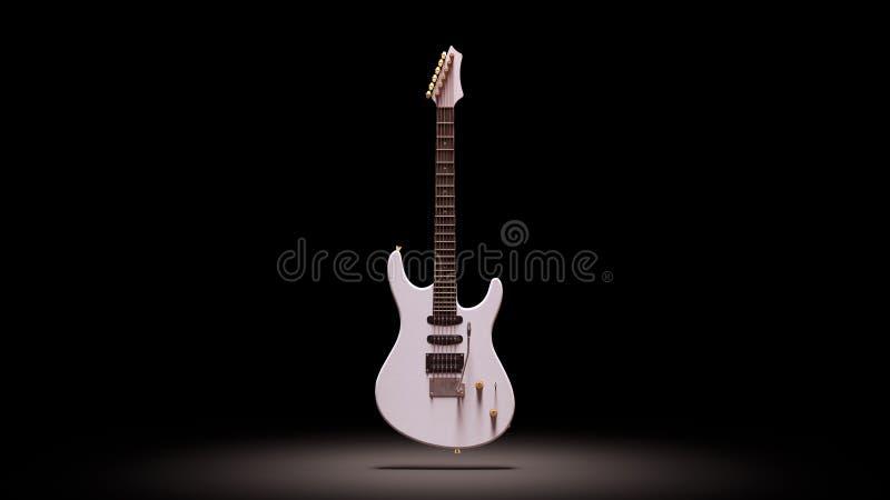 Guitare électrique de cru blanc dans une lumière de tache illustration de vecteur