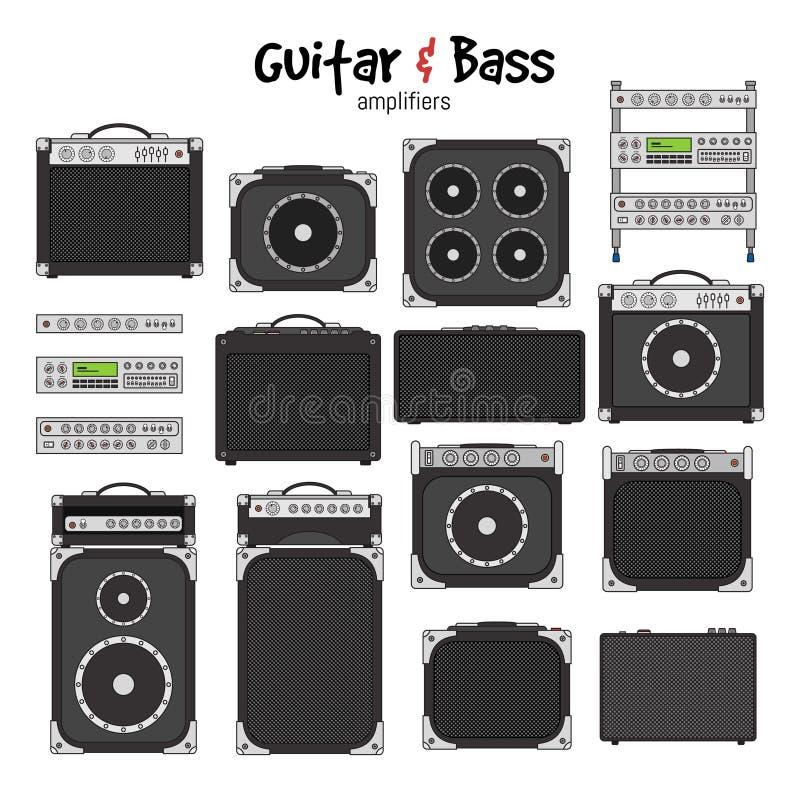 Guitare électrique et Bass Amplifiers illustration de vecteur