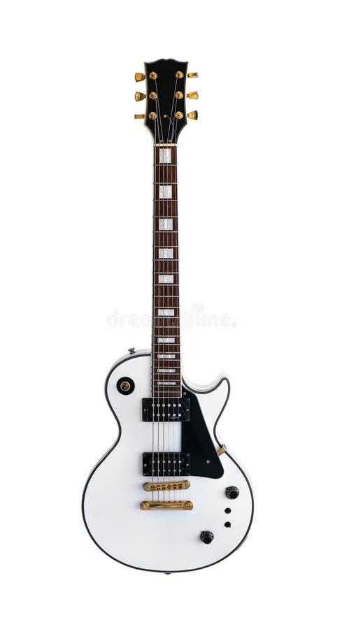 Guitare électrique la forme classique Les Paul sur le fond blanc photo libre de droits