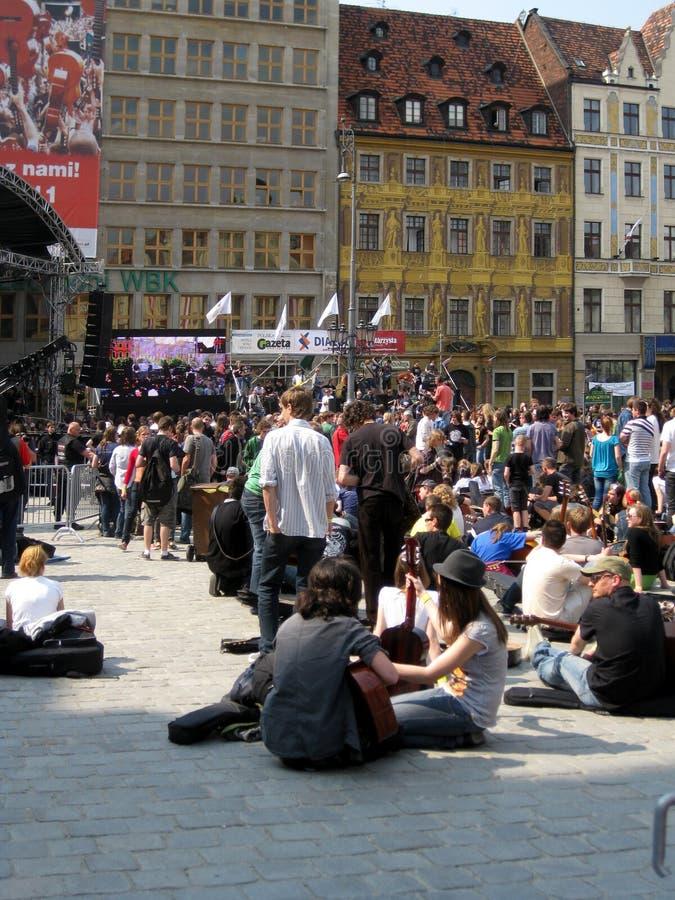 Guitare 2011 de record mondial de Guinness : Hendrix dans Wroc images libres de droits