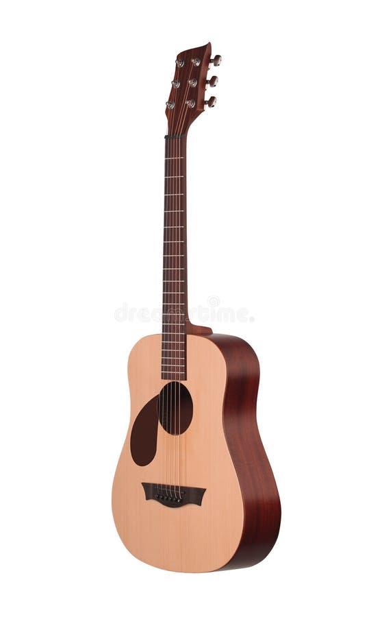 Guitare acoustique classique d'isolement sur un blanc image stock