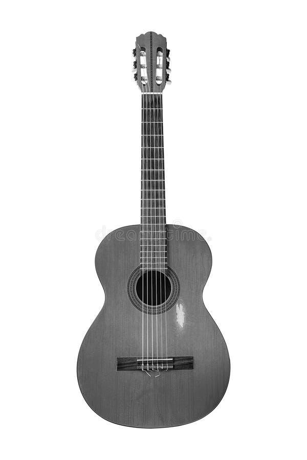 Guitare acoustique classique sur le fond blanc photo stock