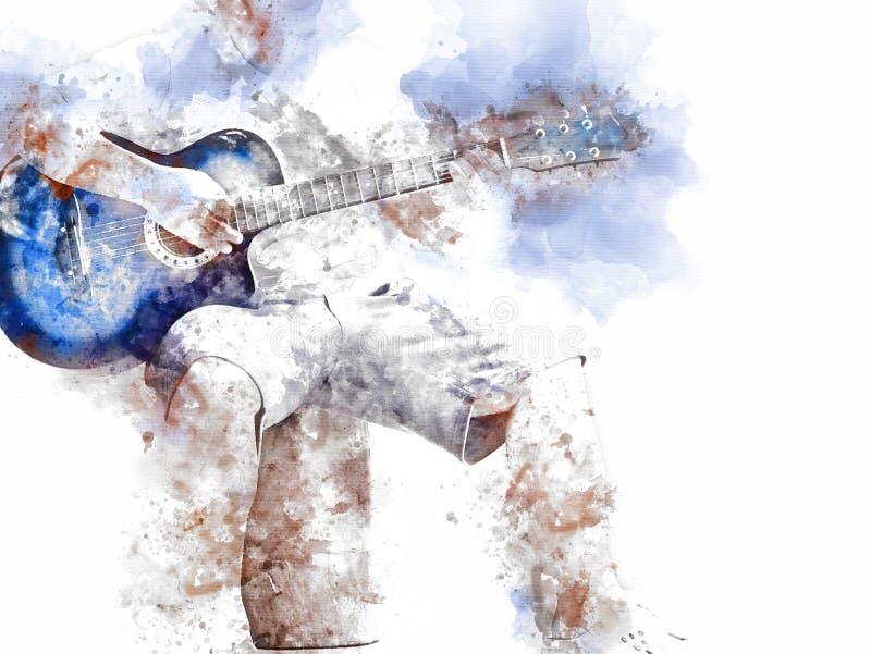 Guitare acoustique colorée de résumé dans la fin de premier plan sur le fond de peinture d'aquarelle illustration de vecteur