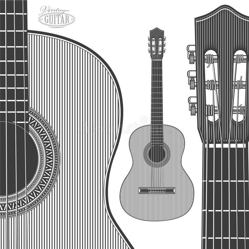 Guitare acoustique dans le style de gravure illustration libre de droits