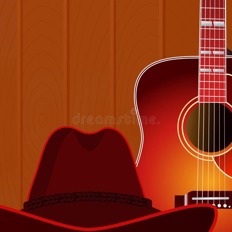 Guitare acoustique et chapeau de cowboy sur le fond en bois de mur illustration libre de droits