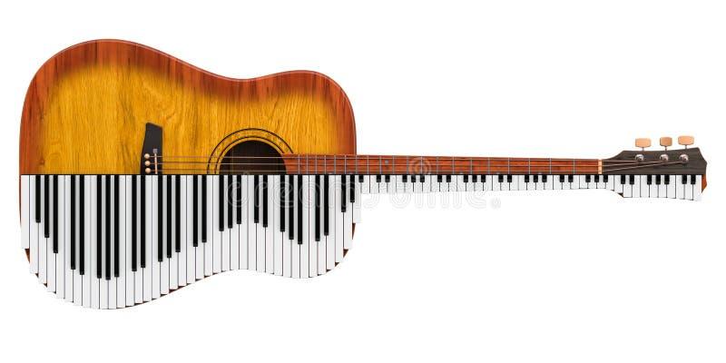 Guitare acoustique et piano Concept de duo de musique, rendu 3D illustration libre de droits