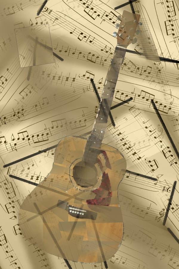 Guitare acoustique et portée Illustration photographie stock