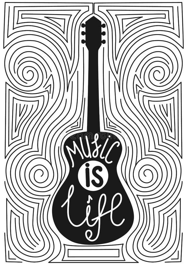 Guitare avec l'affiche tirée par la main de typographie LA MUSIQUE EST LA VIE photographie stock libre de droits
