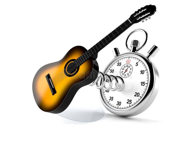 Guitare avec le chronomètre illustration libre de droits