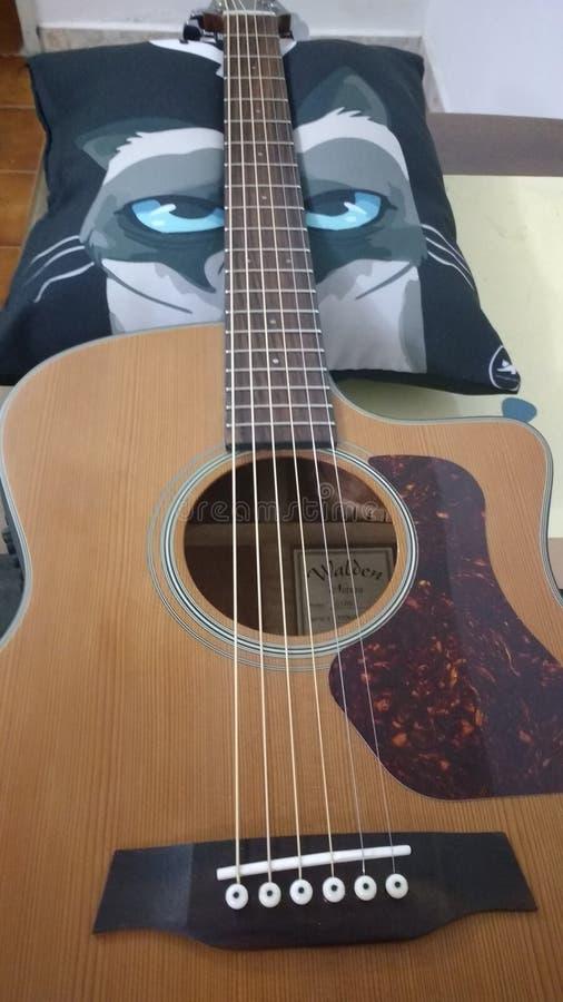 Guitare avec un oreiller photo stock