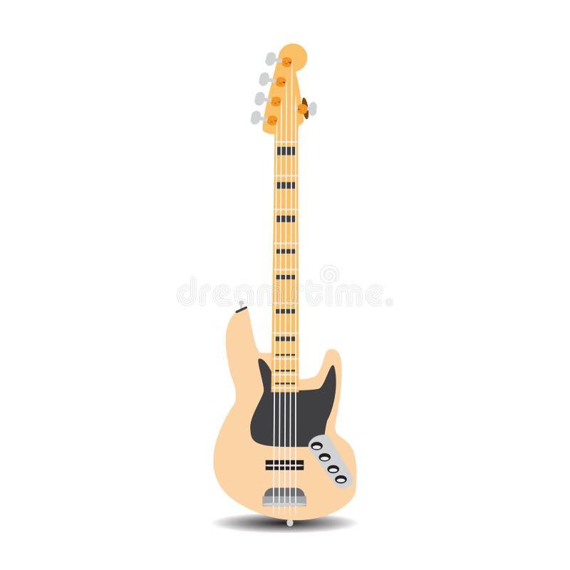 Guitare basse électrique, illustration de vecteur dans le style plat illustration libre de droits