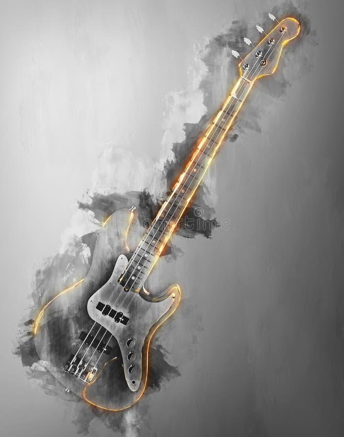 Guitare basse de hard rock - illustration abstraite illustration libre de droits