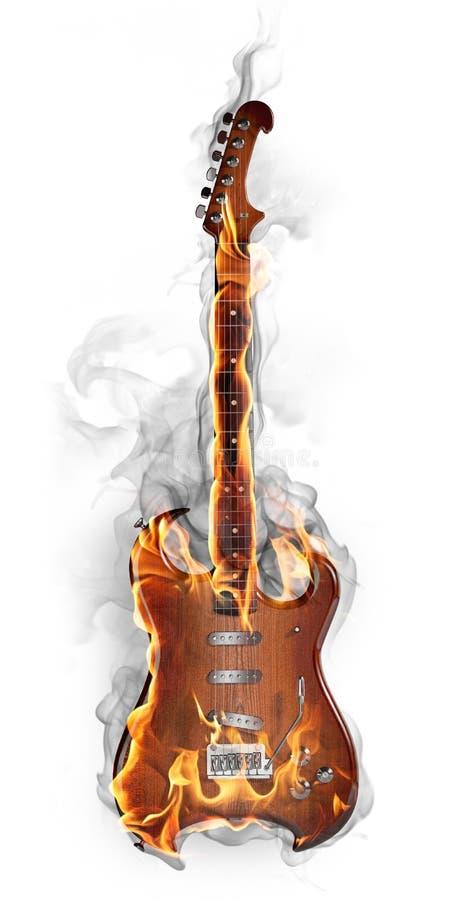 Guitare brûlante illustration stock