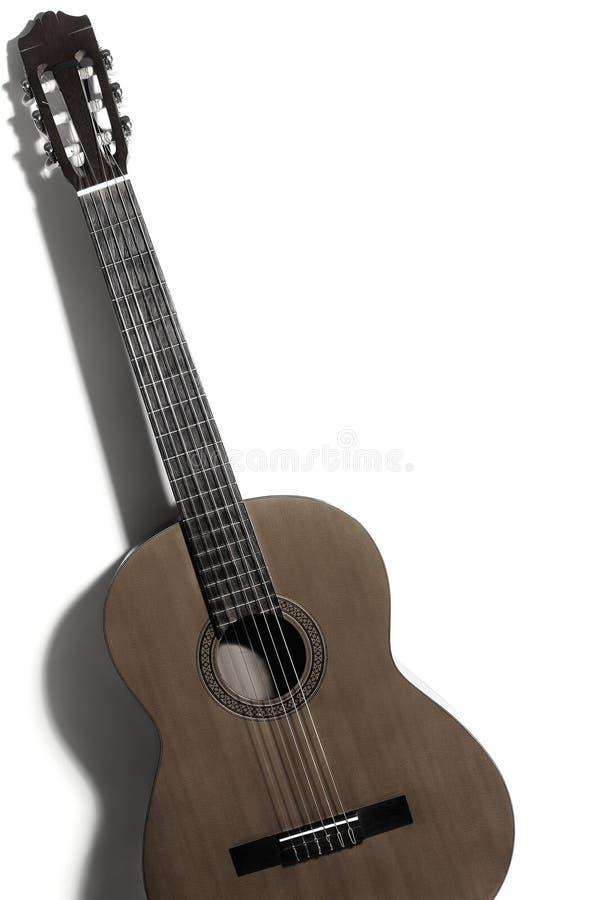 Guitare classique de guitare acoustique d'isolement sur le blanc images libres de droits