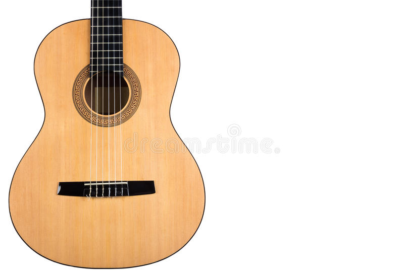 Guitare classique de corps avec la plate-forme jaune sur le fond blanc images libres de droits