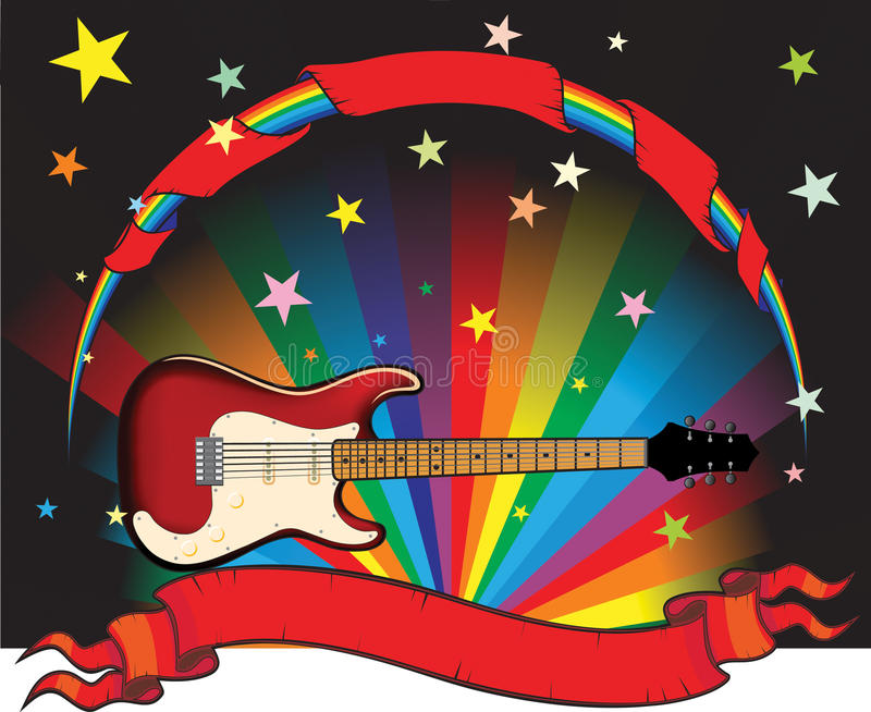Guitare d'arc-en-ciel illustration libre de droits