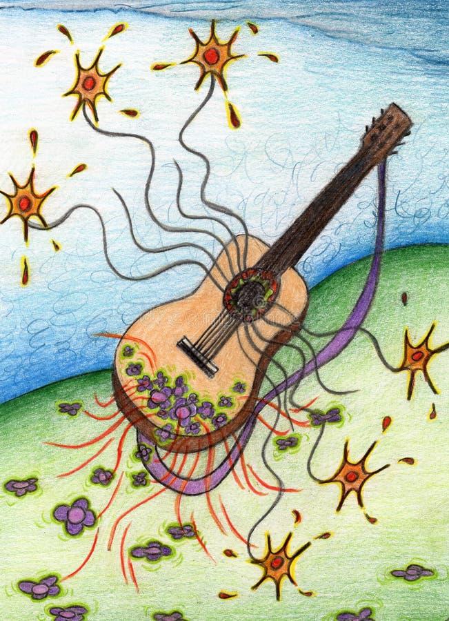 Guitare dans un paysage de fleur image stock